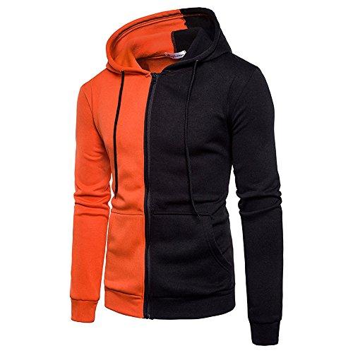 (Yvelands Herren Hoodie Pullover Langarm Hoodie Nähte Reißverschluss Mantel Jacke Outwear Sport Tops(EU-54/L3,Orange))
