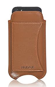 NueVue - Leather Tan Case With Purple Interior For iPhone 5 & 5S With Credit Card Holder - Tan