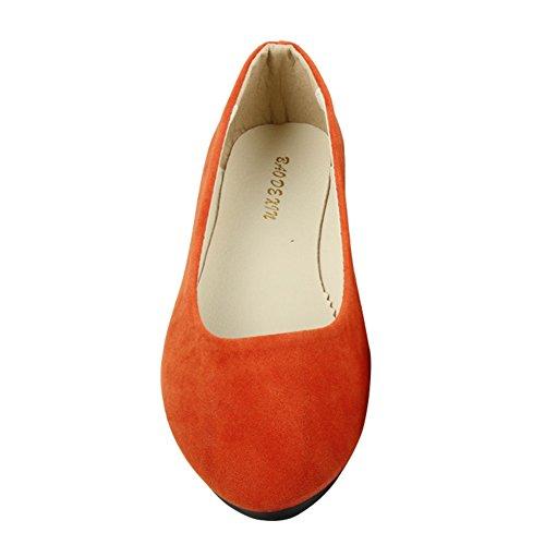 MISSMAO Stiefel Damen Flachschuhe Einzel Schuhe Frauen Sandalen Casual Halbschuhe Comfort Sohle Freizeitschuh Wildleder,Orange,EU 38 - Ballerinas Schuhe Orange Frauen