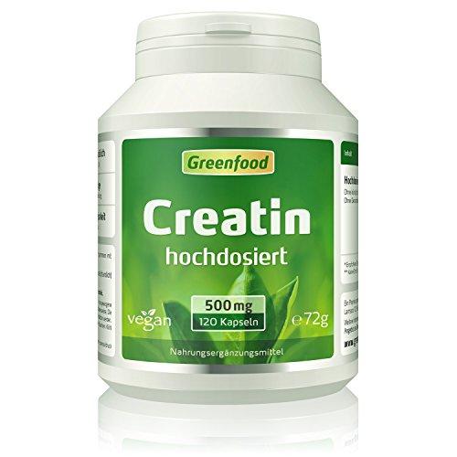 Greenfood Creatin, 500 mg, hochdosiert, 120 Vegi-Kapseln - baut rasch Muskelmasse auf, idealer Begleiter für Workout und Training. OHNE künstliche Zusätze, ohne Gentechnik. Vegan. - Bcaa 500 Mg 120 Kapseln