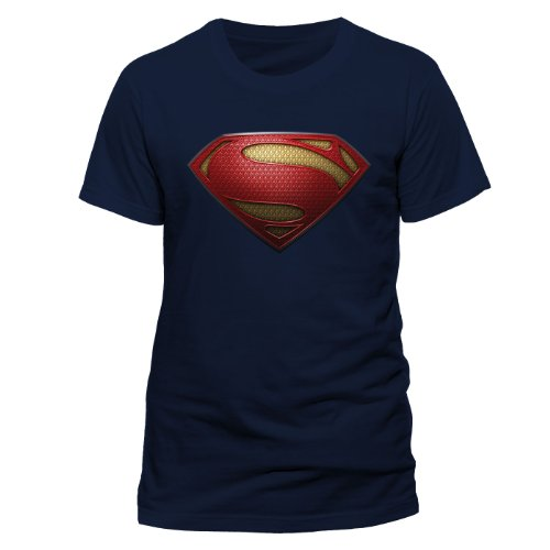 DC Comics Men's Man of Steel Textured Logo Crew Neck Short Sleeve T-Shirt