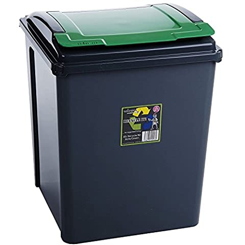 50 Litre Green Plastic Waste Recycle Bin High Quality with Flap Lid For Kitchen Home Office