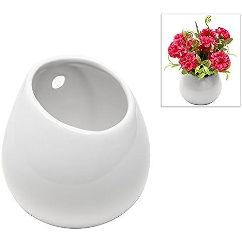 MyGift?White Petite Wall Mounted, Hanging or Freestanding Decorative Ceramic Flower Planter Vase Holder Display by MyGift - Hanging Flower Vase