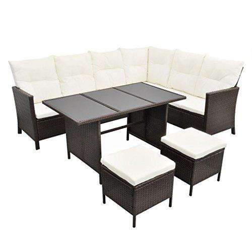 Acht-personen-esstisch (vidaXL Poly Rattan Gartenmöbel 8 Personen Braun Lounge Set Essgruppe Garnitur)