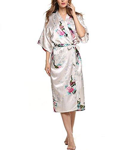 JIURUN lange Kimonos für Damen Bademantel aus Satin mit Pfau und Blüten Morgenmantel Robe Weiß