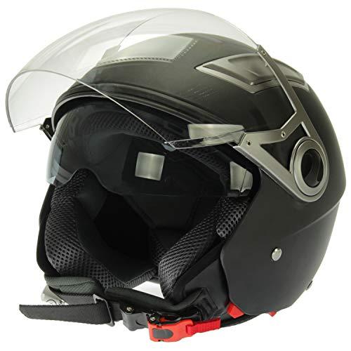 Mach1 Jethelm Helm Motorradhel mit Integrierter Sonnenblende ECE R 22.05 Größe XS bis XXL