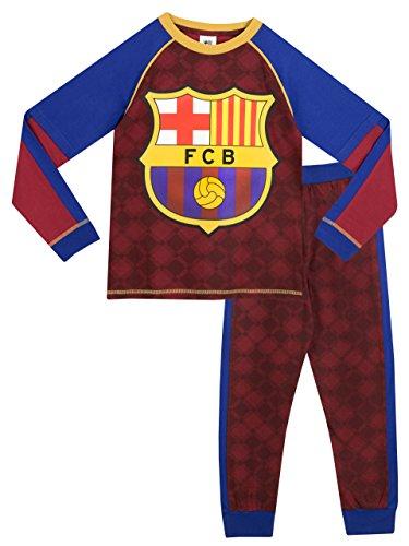 Pijama del Barcelona para niños. Este conjunto de pijama oficial del FC Barcelona incluye un top de mangas largas y pantalones largos. La camisa trae un estampado grande del logo del Barça y mangas dobles en sus colores tradicionales azul y granate. ...
