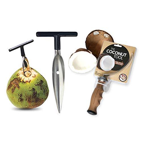 Kokosnussöffner Werkzeug - Edelstahl Kokosnuss-Fleischentferner & Wasserhahnöffner Set - Praktisch und benutzerfreundlich - kompatibel mit geschälten thailändischen Kokosnüssen in Weiß und Grün
