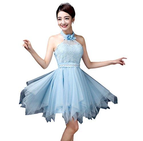 Honeystore Damen's A-Linie/Princess-Linie Knielang Tüll Ärmellos Brautjungfernkleid Abendkleid mit Reißverschluss 28#Blau L