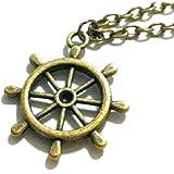 Collar con colgante símbolo Rueda del Tiempo timón barco color bronce