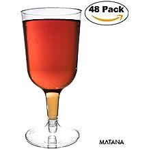 48 Copas Transparentes de Vino Desechables – Vaso Ideal para Fiestas y Cenas de Navidad , Catering, Servicio de Comida – Accesorio de Vajilla Para Actividades, Eventos Al Aire Libre y Casa
