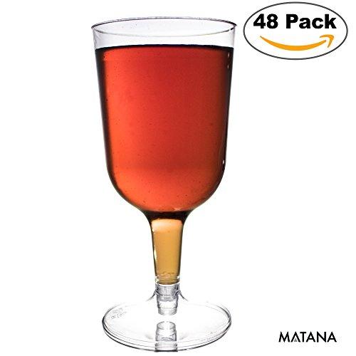 48er Pack Plastik Weingläser 0,2 Liter – transparente Plastik Gläser & Einweggläser aus Kunststoff mit 200 ml Fassungsvermögen und Eichstrich ideal für Weihnachtsfeiern, Catering oder Veranstaltungen