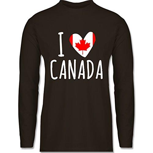 Shirtracer Love - I Love Canada - Herren Langarmshirt Braun