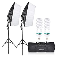 ‏‪Andoer Photography Studio Cube Umbrella Softbox Light Lighting Tent Kit Photo Video Equipment 2 * 135W Bulb 2 * Tripod Stand 2 * Softbox 1 * Carrying Bag for Portrait Product UK Plug 220V‬‏