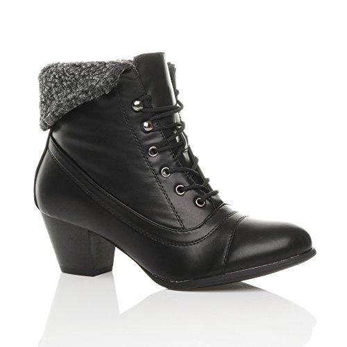 Rendas Média Pele Vendas De Inverno Vitoriano Moda Tamanho Ankle Boots Mate Pele Preta Das Mulheres