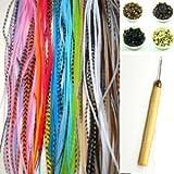 Sexy Sparkles Kit d'extensions pour cheveux 10 longues plumes véritables, micro perles et crochet inclus Coloris divers 18cmà 28cm