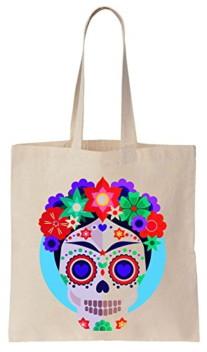 Finest Prints Artist Inspired Skull With Flowers Tote Bag Bolsos de Compras Reutilizables de Algodón