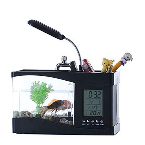 JiMany Mini Aquarium Schreibtisch Stifthalter Desktop Mini Aquarium Schreibtisch Aquarium mit LED-Leuchten Musik Wecker,Black -