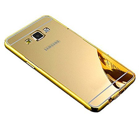 IND Premium Luxury Metal Bumper Acrylic Mirror Back Cover Case For Samsung Galaxy J7(6) (2016) / SM-J710 - GOLD