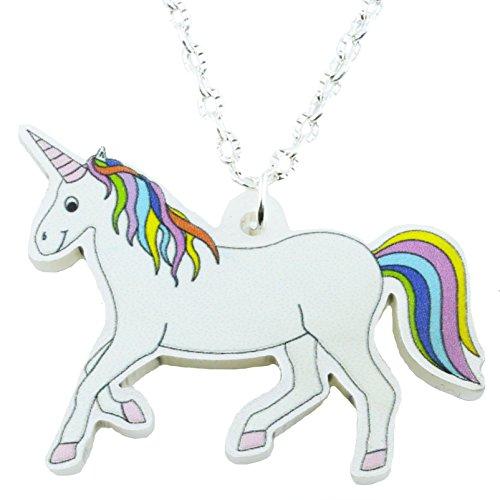TFB-Fantasy Märchen Rainbow Einhorn Halskette mit Geschenk-Box