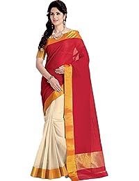 23f9aca42acbc4 Mahadev Enterprises Red Color Cotton Silk Saree With Unstitched Blouse Pics  PF05