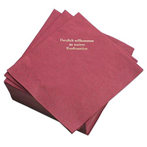 Geschenke mit Namen Servietten Bordeaux, Prägung in Gold-Schrift: HERZLICH WILLKOMMEN ZU Meiner KONFIRMATION, 50 Stück, ca. 33 x 33 cm