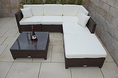 PolyRattan Hochwertige Aluminium Luxus Lounge NORDLAND-GARTENMÖBEL Garten Möbel incl. Glas und Polster in braun Gartenmöbel