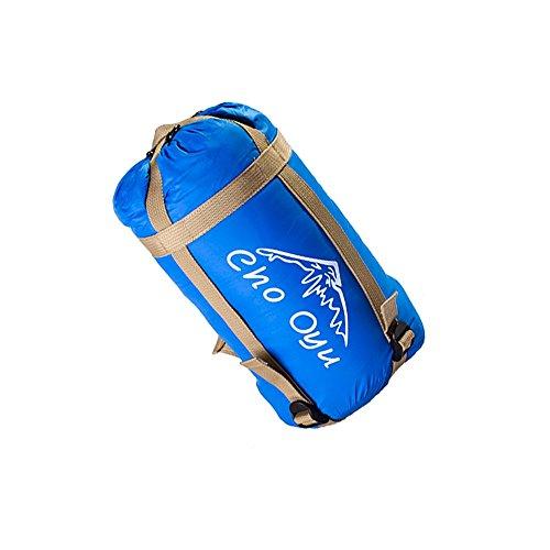 Cho Oyu mini Ultralight busta design sacco a pelo, morbida e comoda in tessuto leggero e traspirante con sacco a pelo a compressione per un comodo trasporto e stoccaggio, ideale per 3stagioni da viaggio come escursioni, campeggio, escursioni e altre attività all\' aperto, sky blue