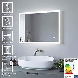 AQUABATOS Badspiegel LED Beleuchtung Wandspiegel Dimmbar Badezimmerspiegel mit Touchschalter (60 x 80 cm, kaltweißen)
