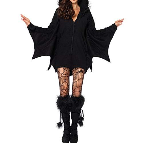 Beaums Capa Romper Fiesta de Halloween Cosplay Moda con Capucha para Mujer de Batwoman Bat Animal Vestuario del Club de Noche del Mono