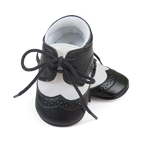 ESTAMICO Baby Jungen PU Schnürsenkel Lauflernschuhe Schwarz 0-6 Monate
