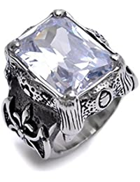 K Mega Jewelry Stainless Steel Silver Huge Clear Crystal Mens Ring Size Q S V W Y R420