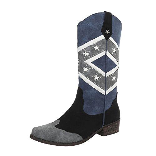 Ital-Design Western- & Bikerstiefel Damen-Schuhe Blockabsatz Western Style Stiefel Schwarz Multi, Gr 37, Ju1162-