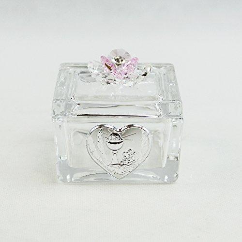 Dlm26434-rosa scatolina cofanetto portaconfetti con fiore in cristallo per comunione_rosa bomboniera