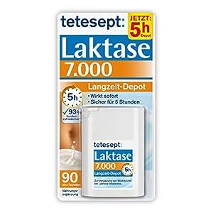 tetesept Laktase 7.000 Langzeit-Depot – Mit 5 Stunden Langzeit-Depot – kontinuierlicher Laktoseabbau in Magen & Darm – wirkt sofort – 1 Dose à 90 Stück (Nahrungsergänzungsmittel)