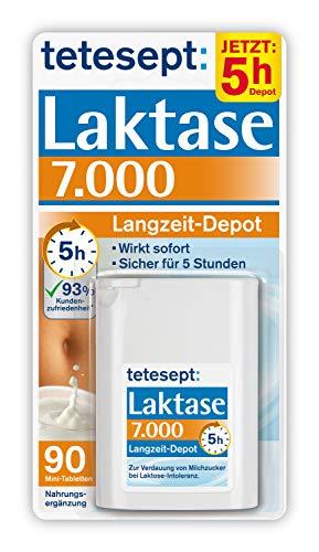 tetesept Laktase 7.000 Langzeit-Depot - Mit 5 Stunden Langzeit-Depot - kontinuierlicher Laktoseabbau in Magen & Darm - wirkt sofort - 1 Dose à 90 Stück [Nahrungsergänzungsmittel]