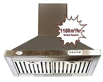 Bright Flame Kitchen Chimney - Stainless Steel, Airflow : 1100 m³ / hr