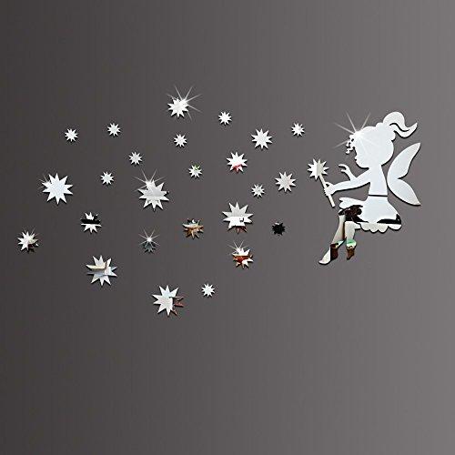 ufengke home Wandsticker 3D Fee und Sterne Silber Spiegel Wandaufkleber Abnehmbare Doppelseitige DIY Mode Wandtattoo Wandaufkleber Wandsticker für Wohnzimmer, Schlafzimmer,Kinderzimmer