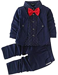 Si Noir by Hopscotch Boys Blazer Style Shirt and Pant Set in Color Navy
