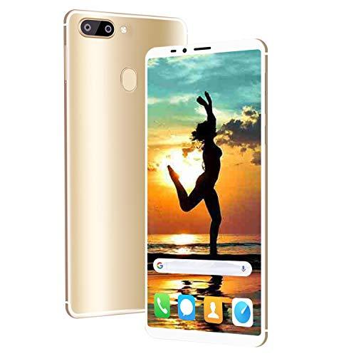 4G Telephone Portable debloqué, 6.0 Pouces 4Go + 64Go Android 8.3 Smartphone Pas Cher Dual 13MP + 5MP Caméras,4000mAh Double SIM Face ID Téléphone Portable Pas Cher sans Forfait (D'Or)