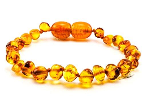 Primoyo Bernstein Armband / Fußkettchen (Honig) – Länge 14 cm – 100% echter Baltischer Bernstein – 100% Handarbeit – ein tolles Geschenk