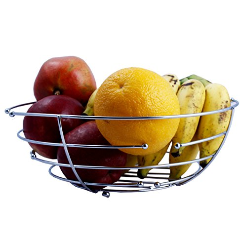 NOVICZ Large Size Fruit Basket - A Modern Tableware Fruit Vegetable Bowl - Kitchen Storage Basket, Silver  available at amazon for Rs.158