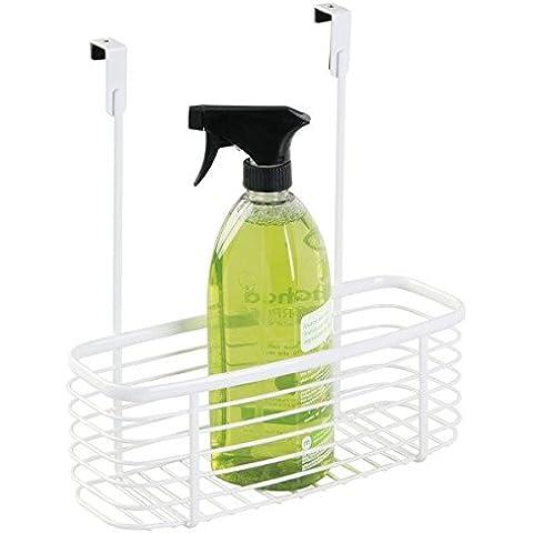 mDesign - Canasto organizador para colocar sobre perfil del gabinete de la cocina; guarda papel de aluminio, bolsas para sándwiches, artículos de limpieza - chico - Blanco