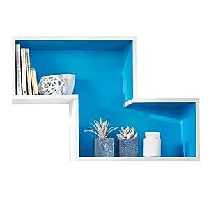 Étagère murale cube (bleu/blanc)