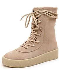 Minetom Mujer Retro Otoño Invierno Plano Botines Calentar Botas De Nieve Lazada Zapatos Martin Botas