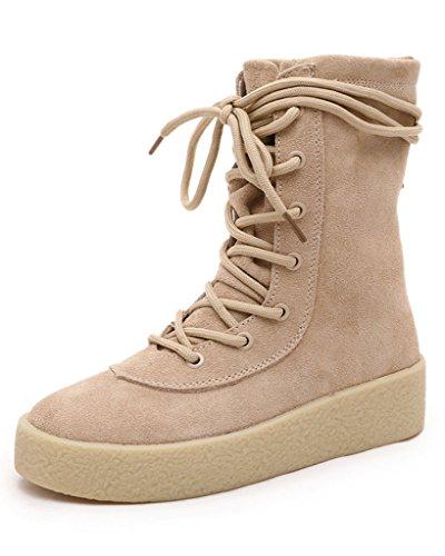 Minetom Femme Automne Hiver Nubuck Laçage Chaudes Bottines Laçage Chaussures Flats Snow Boots Botte de Combat