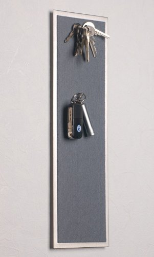 Magnet - Schlüsselboard aus Edelstahl (42 x 12 cm), mit Filz in Grau