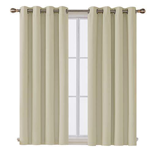 Deconovo Tende Oscuranti Finestre Soggiorno Termiche Isolanti con Occhielli per Casa Moderne 132x138cm 2 Pannelli Beige Scuro
