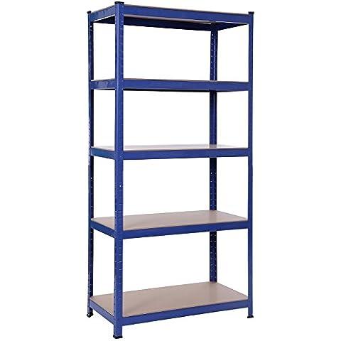 Songmics 1325 KG Estantería resistente acero con recubrimiento en polvo en color azul y tablero DM sin tornillos 5 niveles 180 x 90 x 45 cm