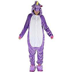 Pijamas de una pieza de Animales - BienBien Unicornio Pijama Kigurumi con Capucha para Adultos Ropa de Dormir disfraz de Carnaval y Halloween Cosplay